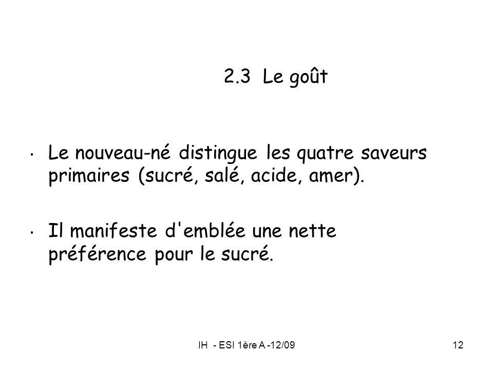IH - ESI 1ère A -12/0912 2.3 Le goût Le nouveau-né distingue les quatre saveurs primaires (sucré, salé, acide, amer). Il manifeste d'emblée une nette