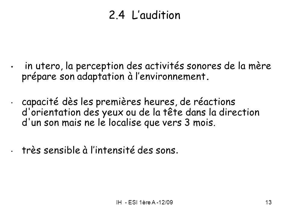 IH - ESI 1ère A -12/0913 2.4 Laudition in utero, la perception des activités sonores de la mère prépare son adaptation à lenvironnement. capacité dès