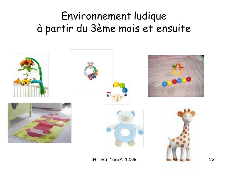 IH - ESI 1ère A -12/0922 Environnement ludique à partir du 3ème mois et ensuite