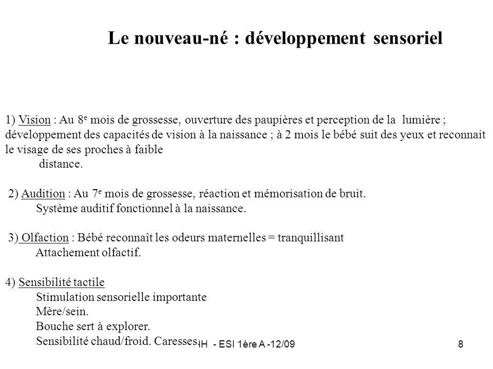 IH - ESI 1ère A -12/098 Le nouveau-né : développement sensoriel 1) Vision : Au 8 e mois de grossesse, ouverture des paupières et perception de la lumi