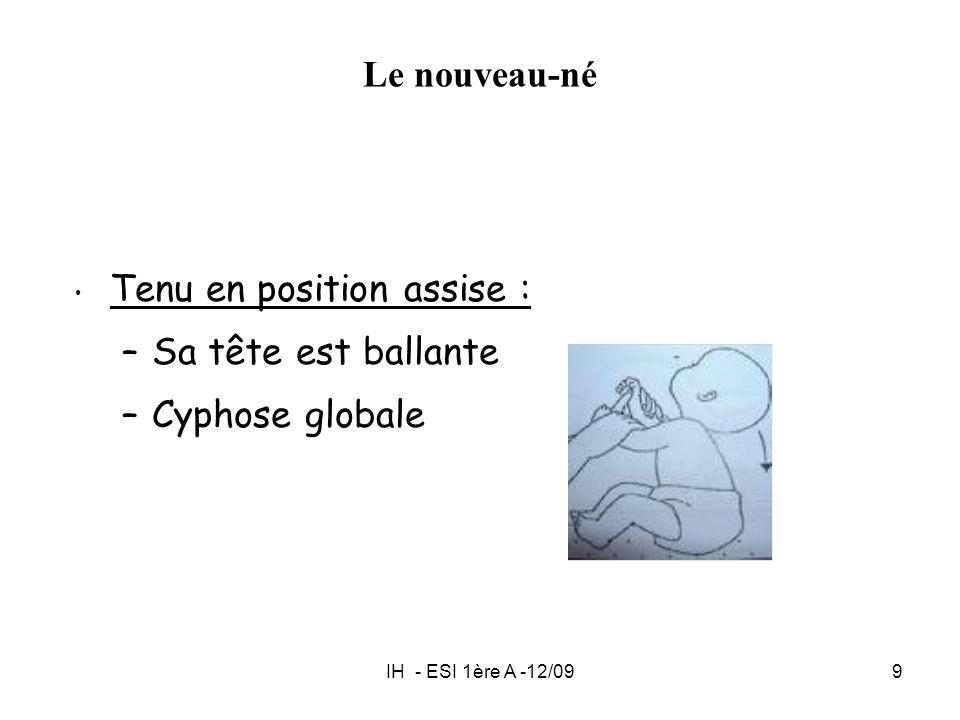 IH - ESI 1ère A -12/099 Le nouveau-né Tenu en position assise : –Sa tête est ballante –Cyphose globale