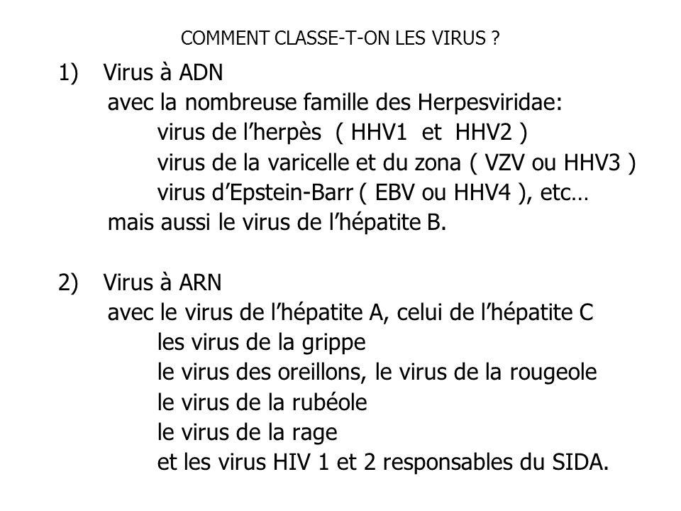 COMMENT CLASSE-T-ON LES VIRUS ? 1)Virus à ADN avec la nombreuse famille des Herpesviridae: virus de lherpès ( HHV1 et HHV2 ) virus de la varicelle et