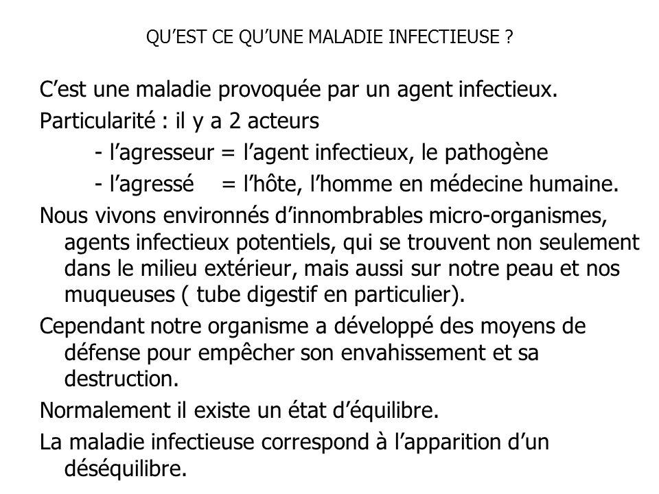 QUEST CE QUUNE MALADIE INFECTIEUSE ? Cest une maladie provoquée par un agent infectieux. Particularité : il y a 2 acteurs - lagresseur = lagent infect