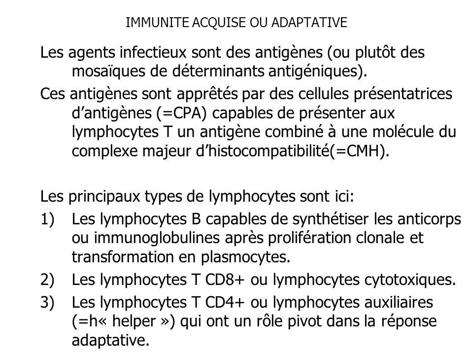IMMUNITE ACQUISE OU ADAPTATIVE Les agents infectieux sont des antigènes (ou plutôt des mosaïques de déterminants antigéniques). Ces antigènes sont app