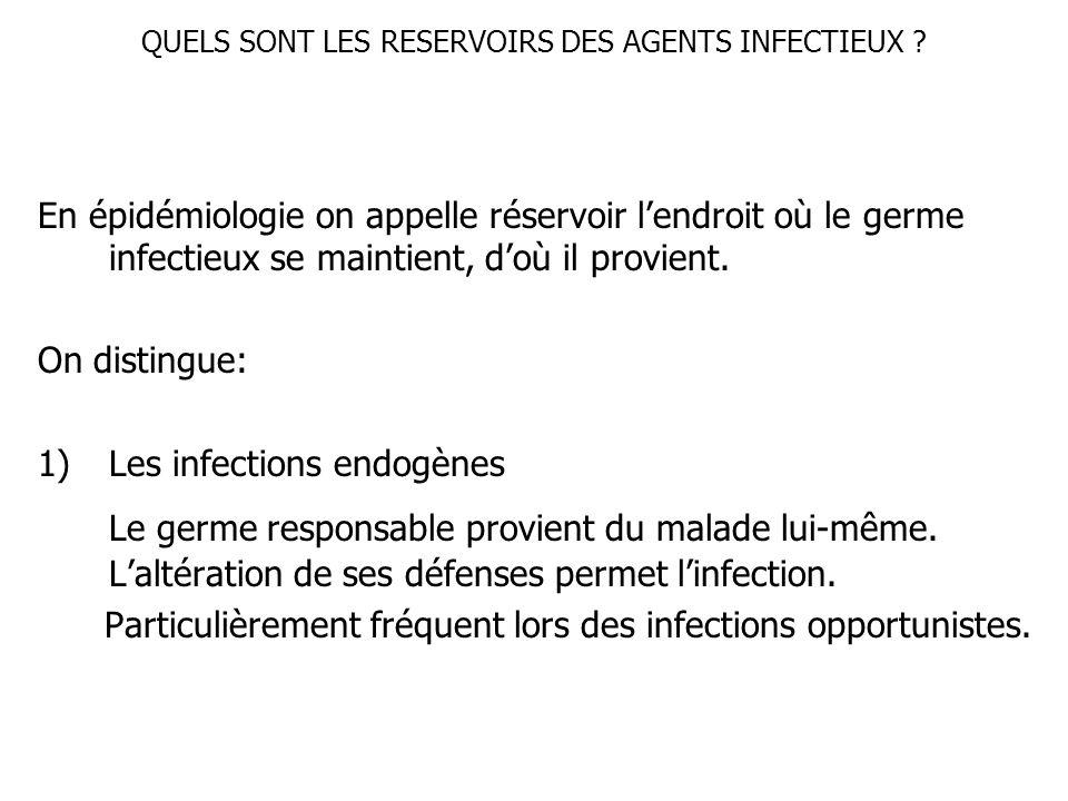 QUELS SONT LES RESERVOIRS DES AGENTS INFECTIEUX ? En épidémiologie on appelle réservoir lendroit où le germe infectieux se maintient, doù il provient.
