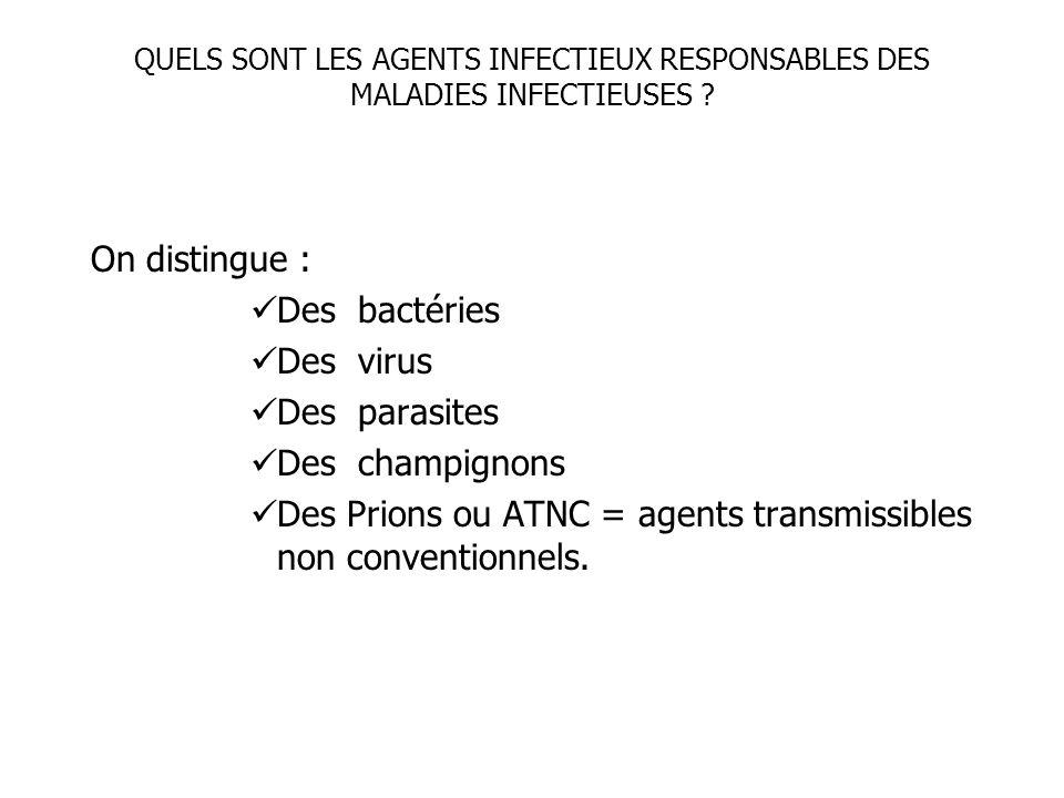 QUELS SONT LES AGENTS INFECTIEUX RESPONSABLES DES MALADIES INFECTIEUSES ? On distingue : Des bactéries Des virus Des parasites Des champignons Des Pri