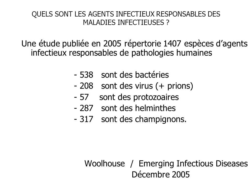 QUELS SONT LES AGENTS INFECTIEUX RESPONSABLES DES MALADIES INFECTIEUSES ? Une étude publiée en 2005 répertorie 1407 espèces dagents infectieux respons