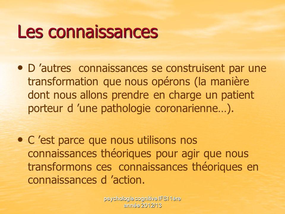 psychologie cognitive IFSI 1ère année 2012/13 Les connaissances D autres connaissances se construisent par une transformation que nous opérons (la man