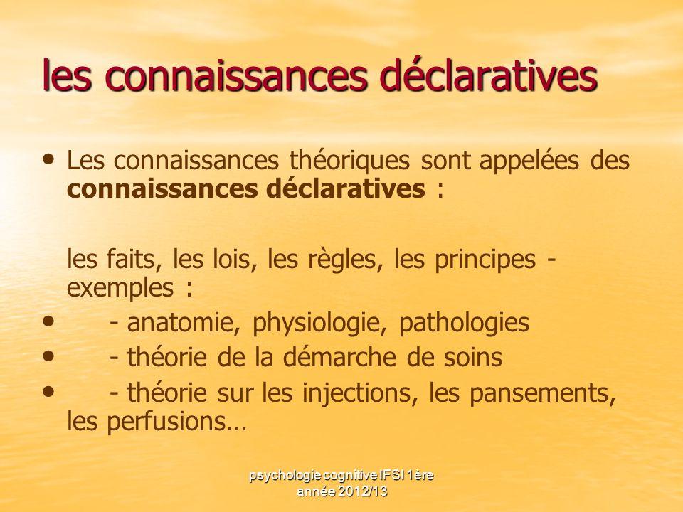psychologie cognitive IFSI 1ère année 2012/13 les connaissances déclaratives Les connaissances théoriques sont appelées des connaissances déclaratives