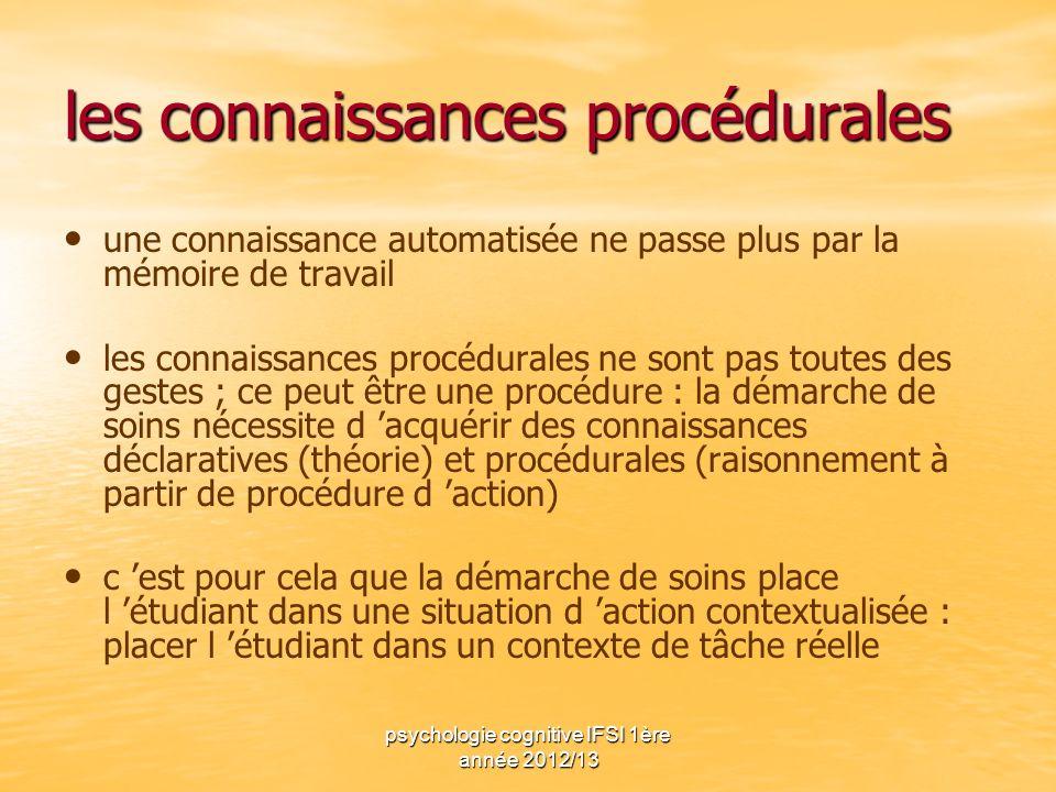 psychologie cognitive IFSI 1ère année 2012/13 les connaissances procédurales une connaissance automatisée ne passe plus par la mémoire de travail les