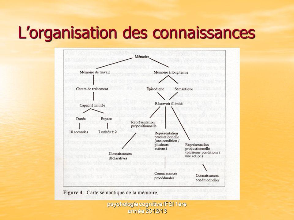 psychologie cognitive IFSI 1ère année 2012/13 Lorganisation des connaissances
