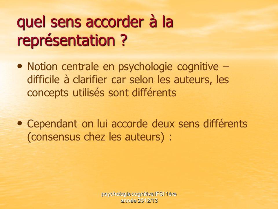 psychologie cognitive IFSI 1ère année 2012/13 quel sens accorder à la représentation ? Notion centrale en psychologie cognitive – difficile à clarifie