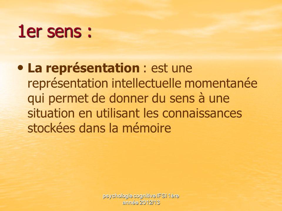 psychologie cognitive IFSI 1ère année 2012/13 1er sens : La représentation : est une représentation intellectuelle momentanée qui permet de donner du