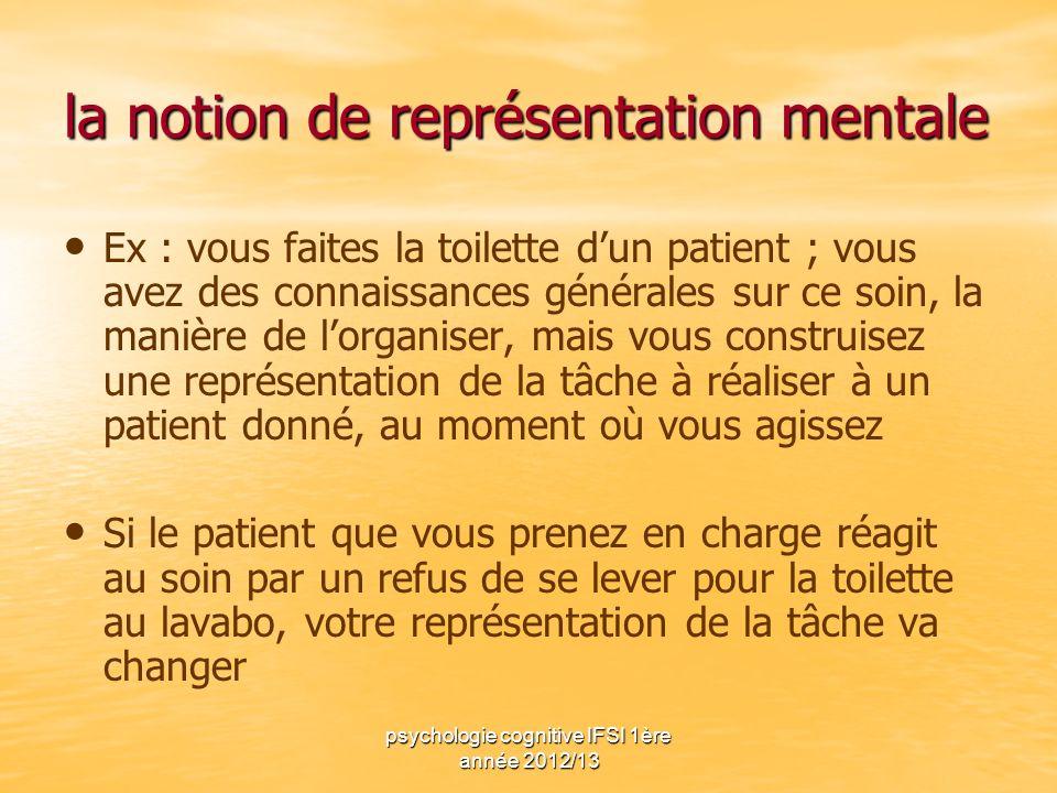 psychologie cognitive IFSI 1ère année 2012/13 la notion de représentation mentale Ex : vous faites la toilette dun patient ; vous avez des connaissanc