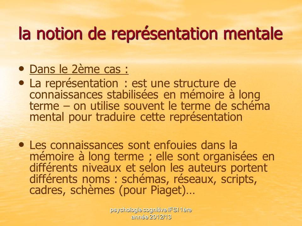 psychologie cognitive IFSI 1ère année 2012/13 la notion de représentation mentale Dans le 2ème cas : La représentation : est une structure de connaiss