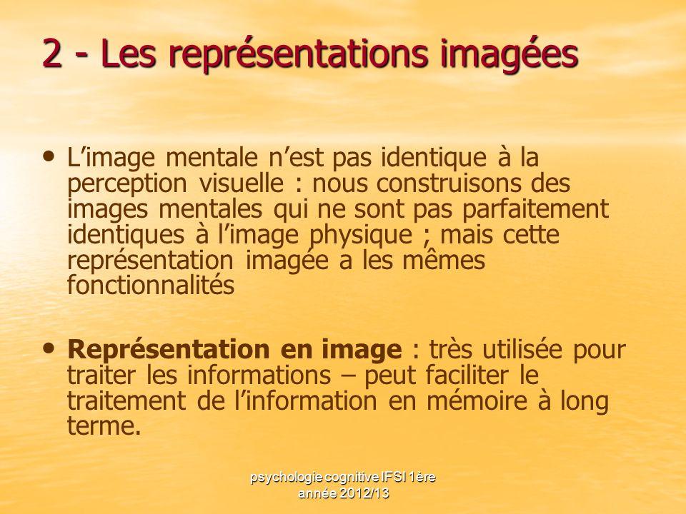 psychologie cognitive IFSI 1ère année 2012/13 2 - Les représentations imagées Limage mentale nest pas identique à la perception visuelle : nous constr