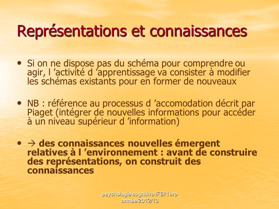psychologie cognitive IFSI 1ère année 2012/13 Représentations et connaissances Si on ne dispose pas du schéma pour comprendre ou agir, l activité d ap