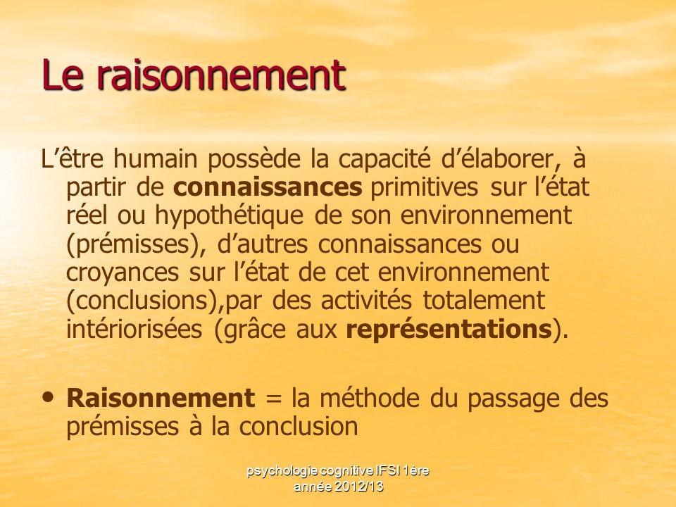 psychologie cognitive IFSI 1ère année 2012/13 Le raisonnement Lêtre humain possède la capacité délaborer, à partir de connaissances primitives sur lét