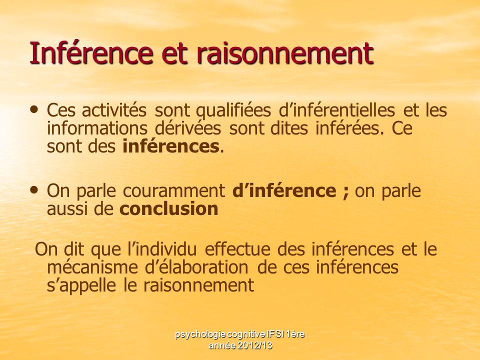 psychologie cognitive IFSI 1ère année 2012/13 Inférence et raisonnement Ces activités sont qualifiées dinférentielles et les informations dérivées son