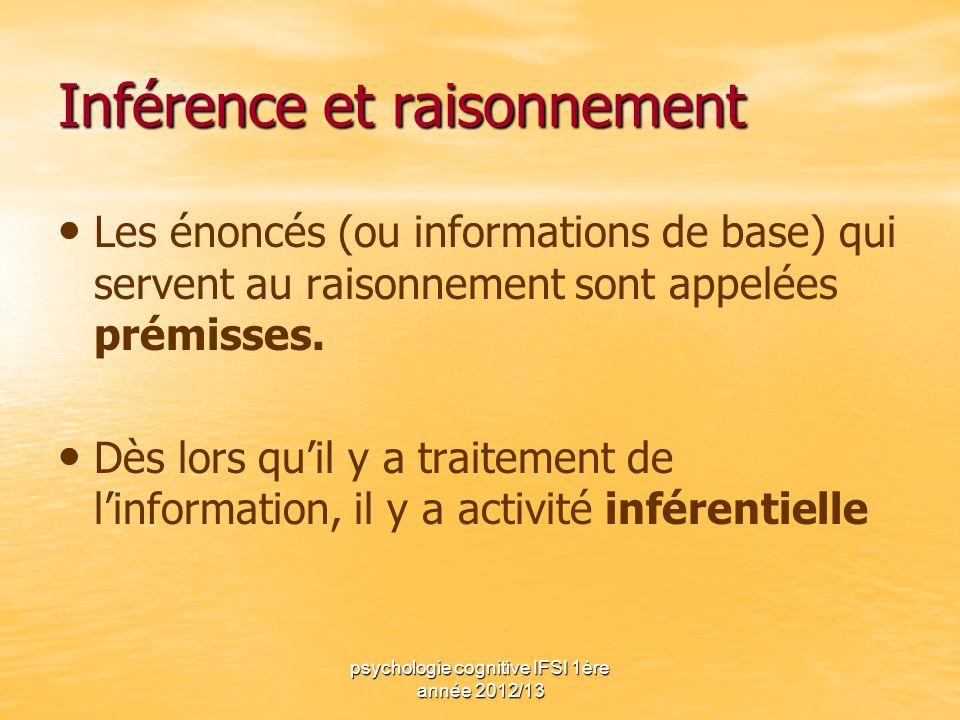 psychologie cognitive IFSI 1ère année 2012/13 Inférence et raisonnement Les énoncés (ou informations de base) qui servent au raisonnement sont appelée