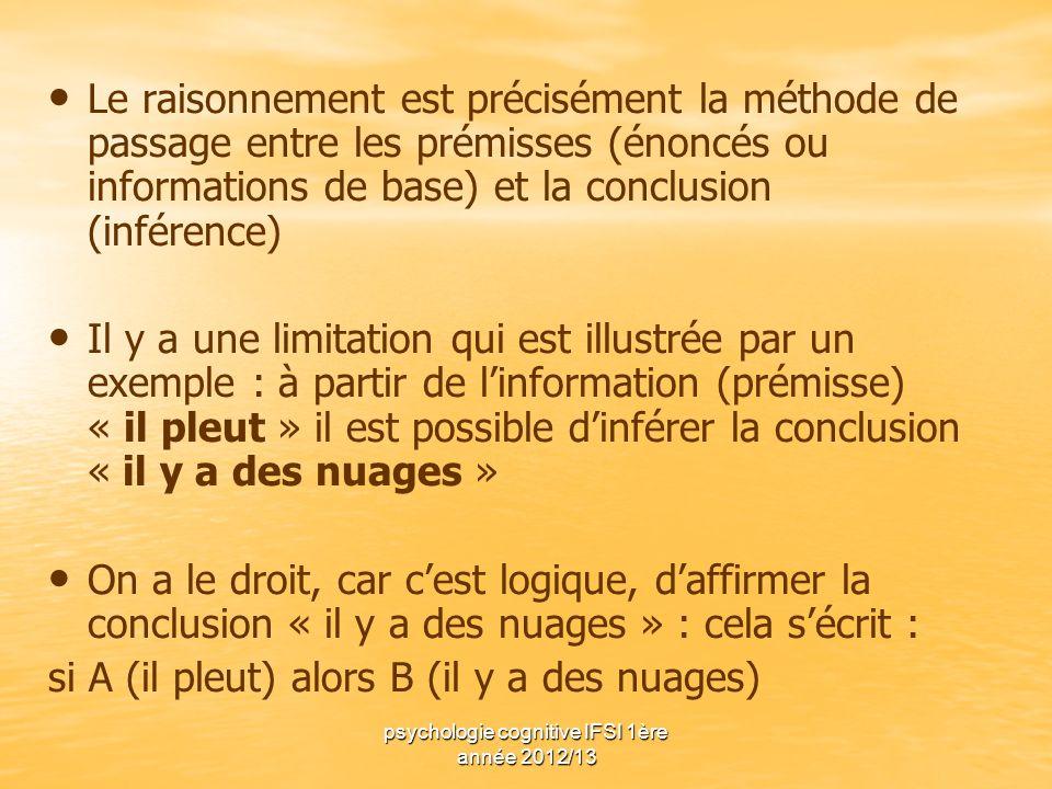 psychologie cognitive IFSI 1ère année 2012/13 Le raisonnement est précisément la méthode de passage entre les prémisses (énoncés ou informations de ba