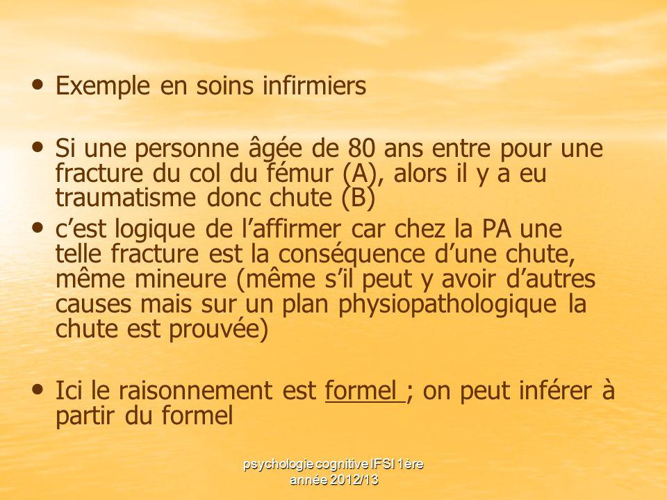 psychologie cognitive IFSI 1ère année 2012/13 Exemple en soins infirmiers Si une personne âgée de 80 ans entre pour une fracture du col du fémur (A),