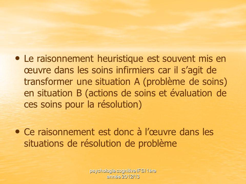 psychologie cognitive IFSI 1ère année 2012/13 Le raisonnement heuristique est souvent mis en œuvre dans les soins infirmiers car il sagit de transform