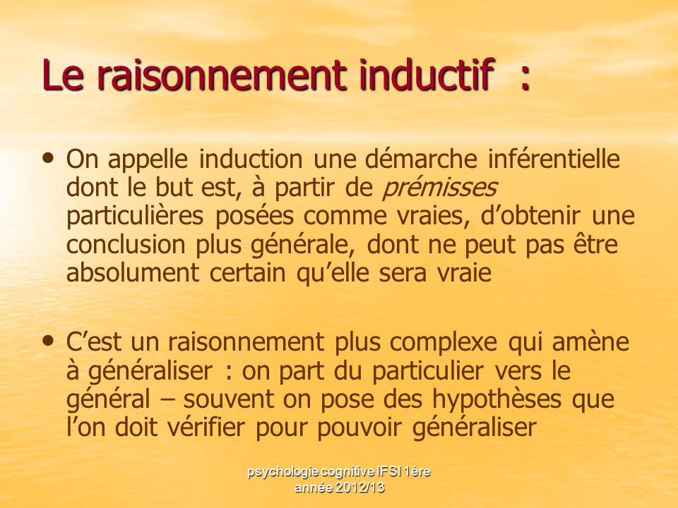 psychologie cognitive IFSI 1ère année 2012/13 Le raisonnement inductif : On appelle induction une démarche inférentielle dont le but est, à partir de