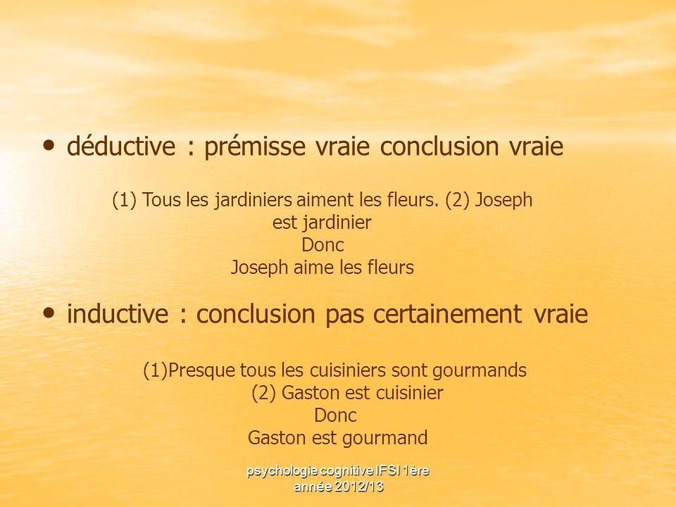 psychologie cognitive IFSI 1ère année 2012/13 déductive : prémisse vraie conclusion vraie inductive : conclusion pas certainement vraie (1) Tous les j