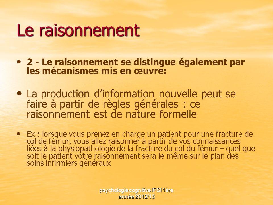 psychologie cognitive IFSI 1ère année 2012/13 Le raisonnement 2 - Le raisonnement se distingue également par les mécanismes mis en œuvre: La productio