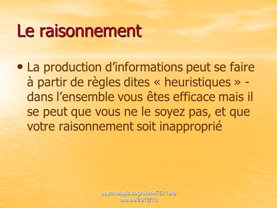 psychologie cognitive IFSI 1ère année 2012/13 Le raisonnement La production dinformations peut se faire à partir de règles dites « heuristiques » - da