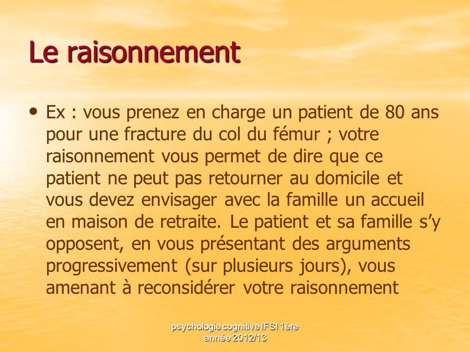psychologie cognitive IFSI 1ère année 2012/13 Le raisonnement Ex : vous prenez en charge un patient de 80 ans pour une fracture du col du fémur ; votr