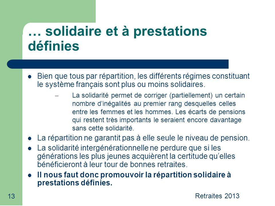 13 … solidaire et à prestations définies Bien que tous par répartition, les différents régimes constituant le système français sont plus ou moins solidaires.
