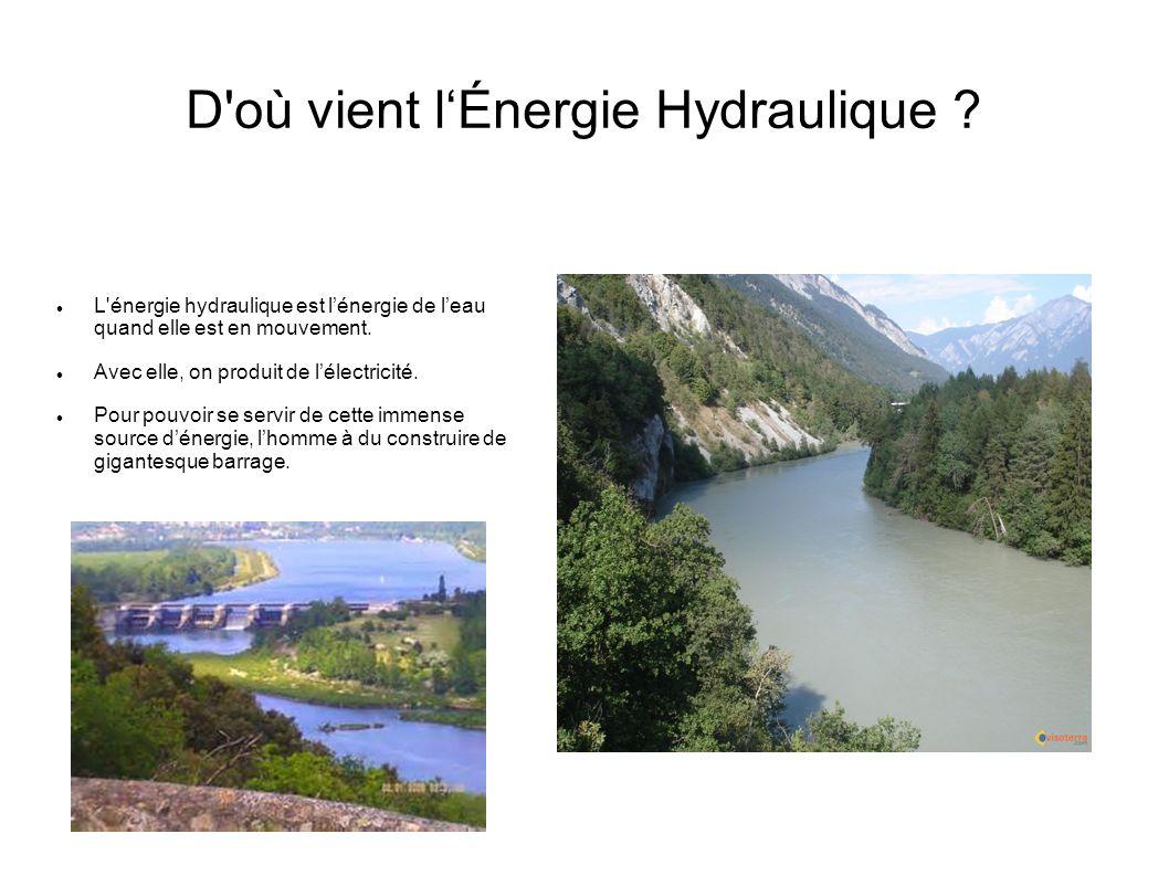 D'où vient lÉnergie Hydraulique ? L'énergie hydraulique est lénergie de leau quand elle est en mouvement. Avec elle, on produit de lélectricité. Pour