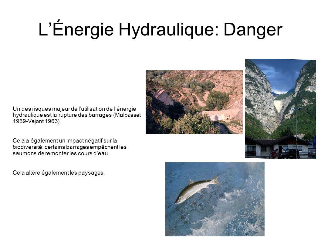 LÉnergie Hydraulique: Danger Un des risques majeur de lutilisation de lénergie hydraulique est la rupture des barrages (Malpasset 1959-Vajont 1963) Ce