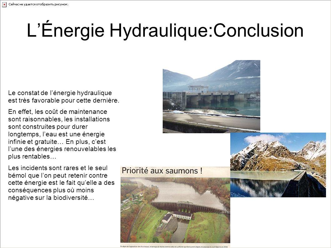 LÉnergie Hydraulique:Conclusion Le constat de lénergie hydraulique est très favorable pour cette dernière. En effet, les coût de maintenance sont rais