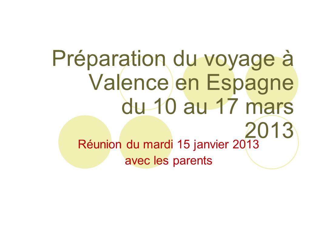 Préparation du voyage à Valence en Espagne du 10 au 17 mars 2013 Réunion du mardi 15 janvier 2013 avec les parents