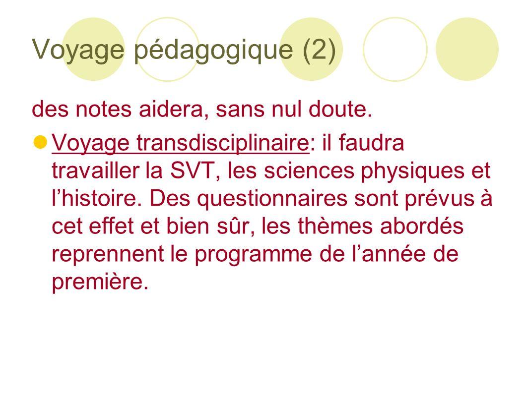 Voyage pédagogique (2) des notes aidera, sans nul doute. Voyage transdisciplinaire: il faudra travailler la SVT, les sciences physiques et lhistoire.