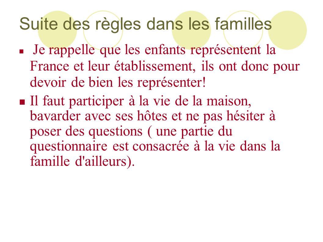 Suite des règles dans les familles Je rappelle que les enfants représentent la France et leur établissement, ils ont donc pour devoir de bien les repr
