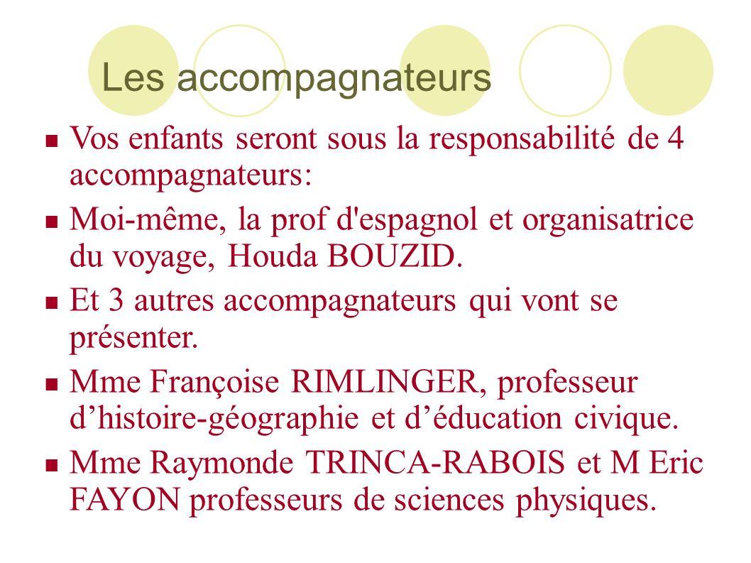Les accompagnateurs Vos enfants seront sous la responsabilité de 4 accompagnateurs: Moi-même, la prof d'espagnol et organisatrice du voyage, Houda BOU