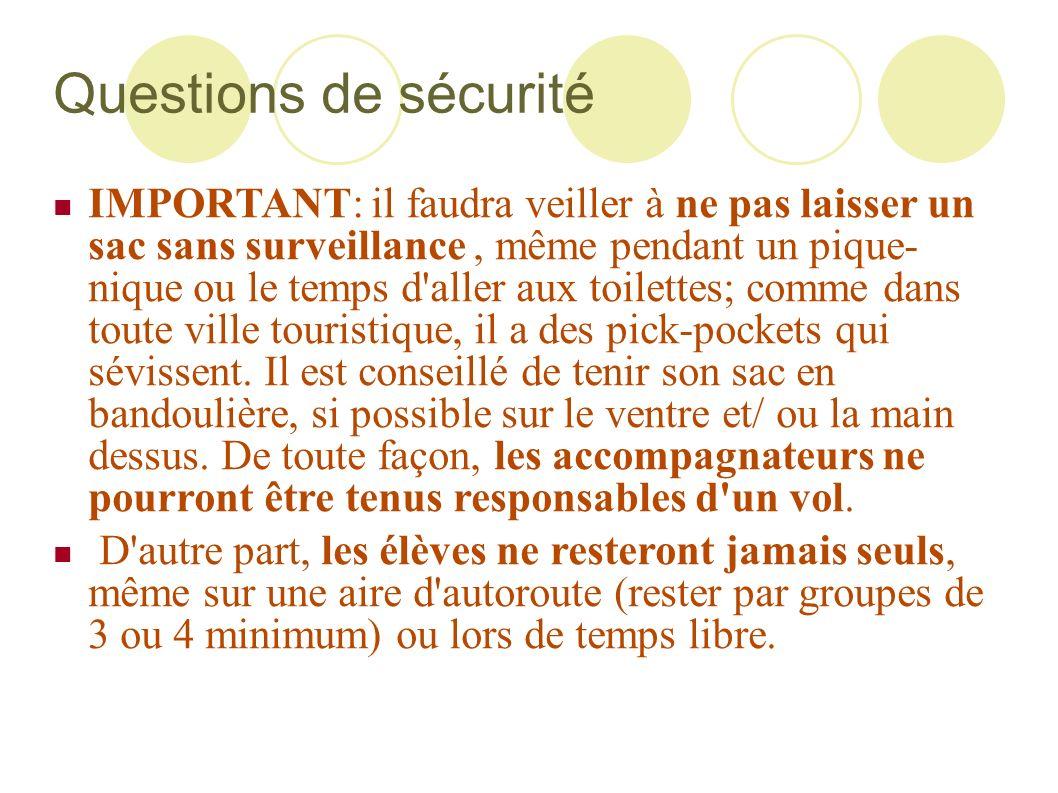 Questions de sécurité IMPORTANT: il faudra veiller à ne pas laisser un sac sans surveillance, même pendant un pique- nique ou le temps d'aller aux toi