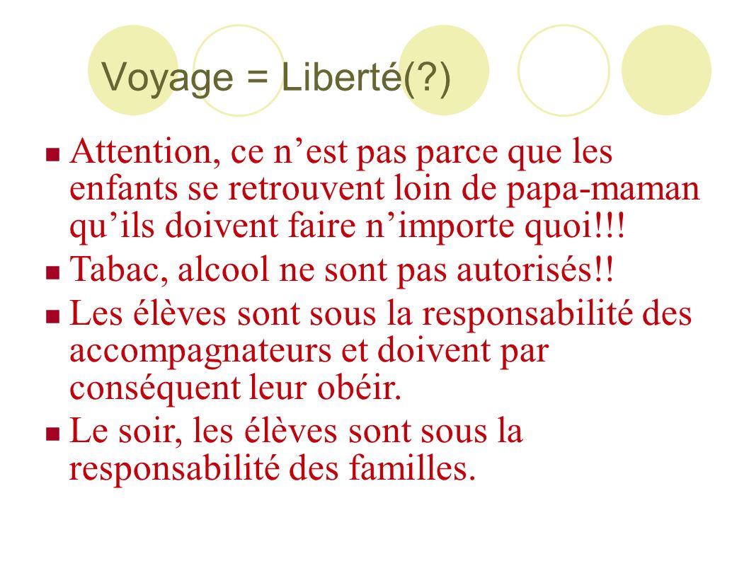 Voyage = Liberté(?) Attention, ce nest pas parce que les enfants se retrouvent loin de papa-maman quils doivent faire nimporte quoi!!! Tabac, alcool n