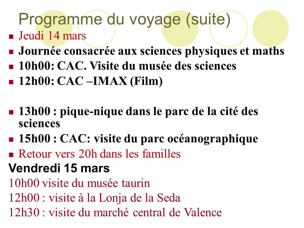 Programme du voyage (suite) Jeudi 14 mars Journée consacrée aux sciences physiques et maths 10h00: CAC. Visite du musée des sciences 12h00: CAC –IMAX