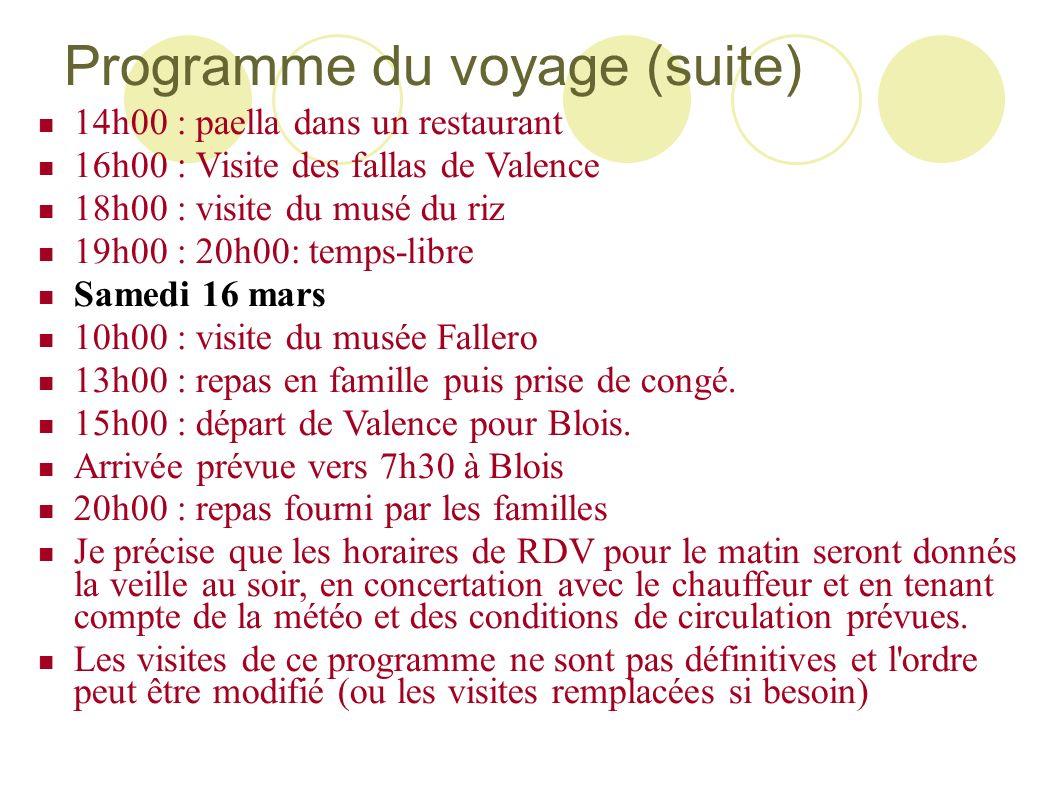 Programme du voyage (suite) 14h00 : paella dans un restaurant 16h00 : Visite des fallas de Valence 18h00 : visite du musé du riz 19h00 : 20h00: temps-