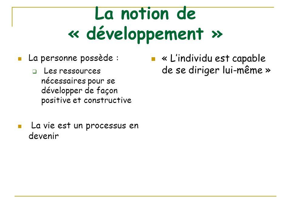 La notion de « développement » La personne possède : Les ressources nécessaires pour se développer de façon positive et constructive La vie est un pro