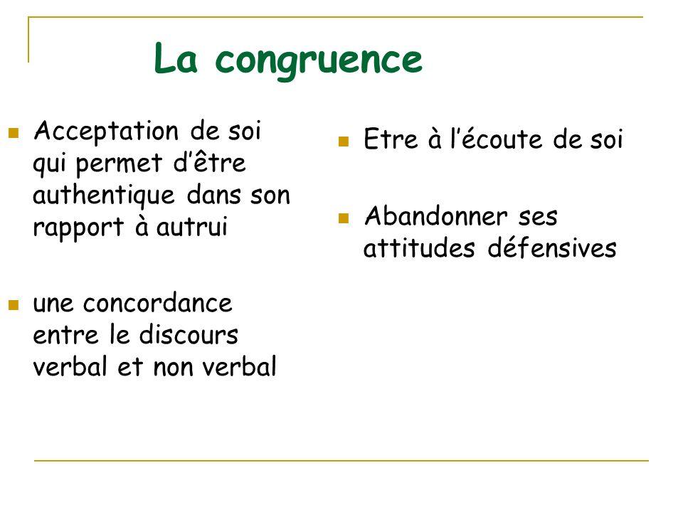 La congruence Acceptation de soi qui permet dêtre authentique dans son rapport à autrui une concordance entre le discours verbal et non verbal Etre à