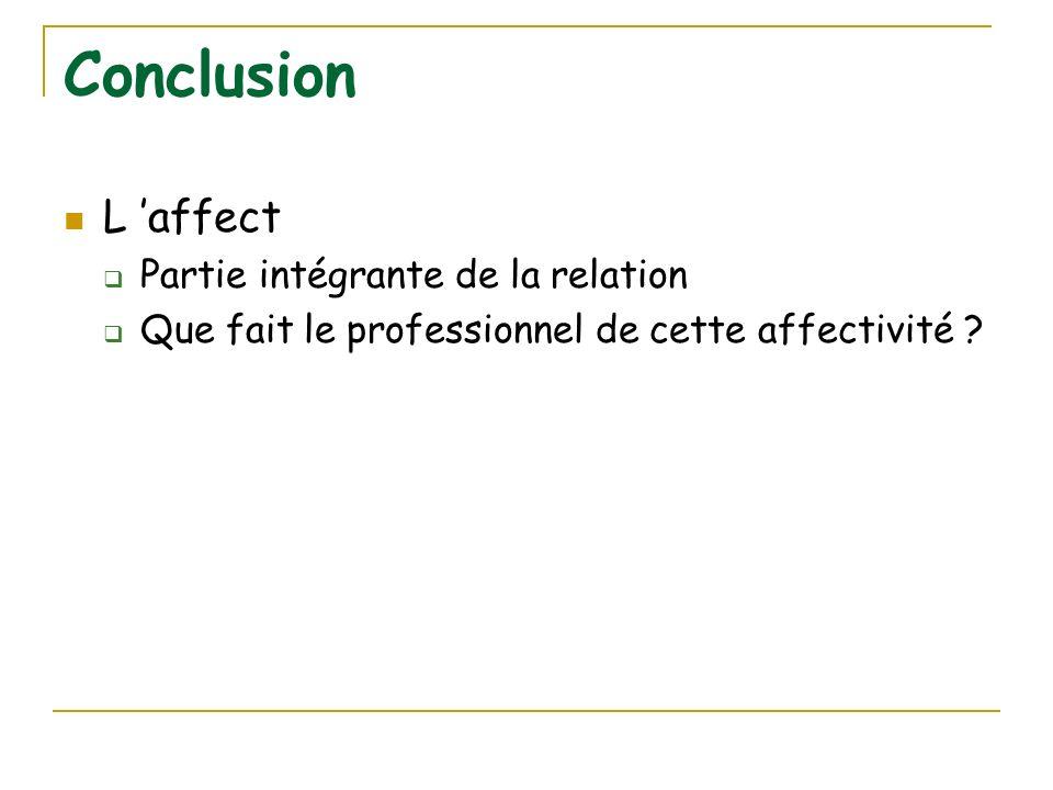 Conclusion L affect Partie intégrante de la relation Que fait le professionnel de cette affectivité ?