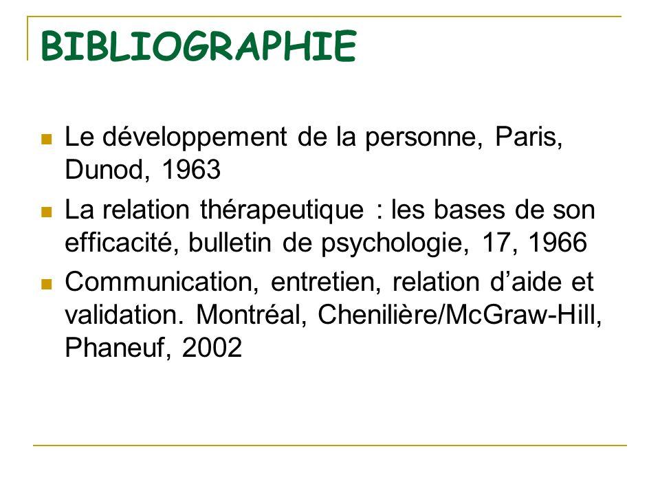 BIBLIOGRAPHIE Le développement de la personne, Paris, Dunod, 1963 La relation thérapeutique : les bases de son efficacité, bulletin de psychologie, 17