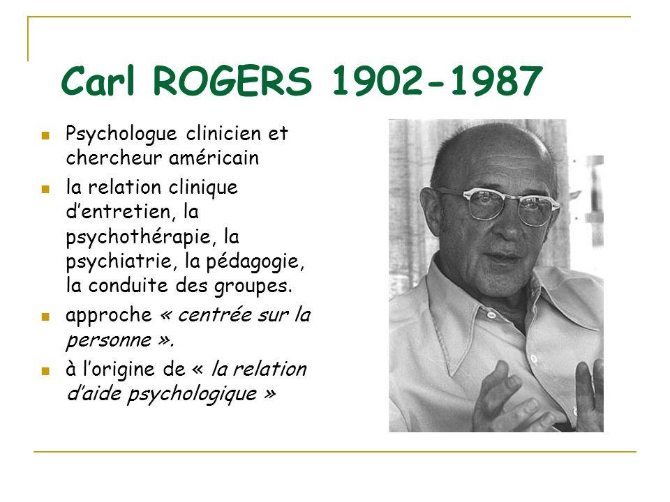 Carl ROGERS 1902-1987 Psychologue clinicien et chercheur américain la relation clinique dentretien, la psychothérapie, la psychiatrie, la pédagogie, l