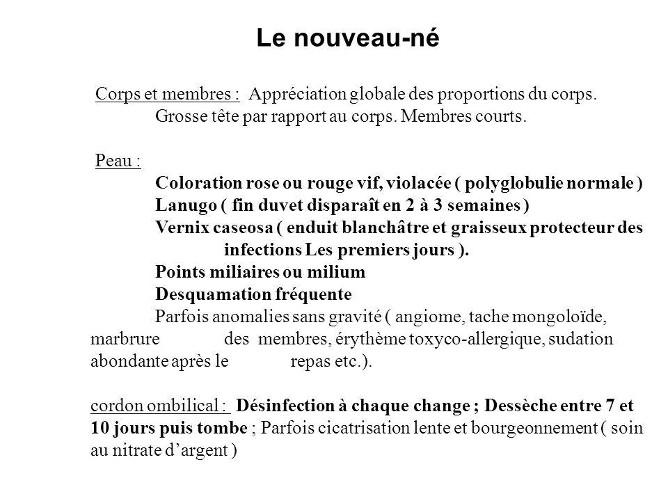 Corps et membres : Appréciation globale des proportions du corps. Grosse tête par rapport au corps. Membres courts. Peau : Coloration rose ou rouge vi